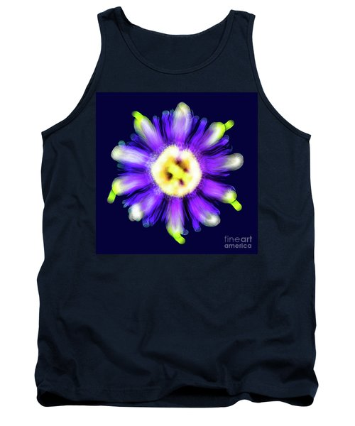 Abstract Passion Flower In Violet Blue And Green 002b Tank Top