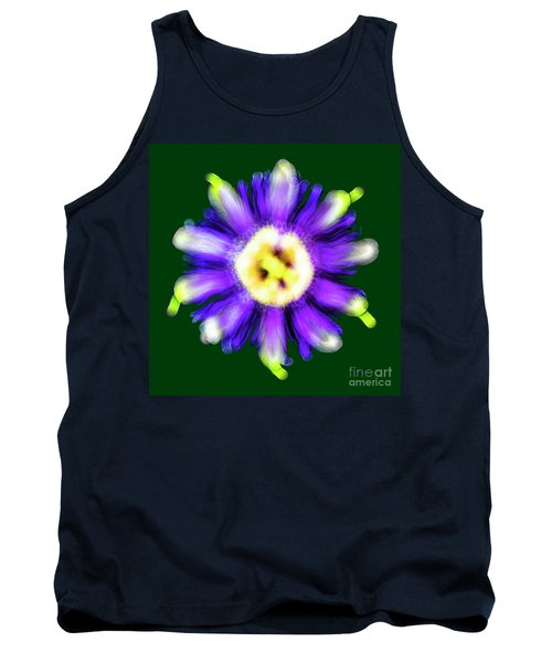Abstract Passion Flower In Violet Blue And Green 002g Tank Top
