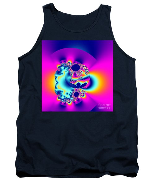 Abstract Pink And Turquoise Fractal Globe Tank Top