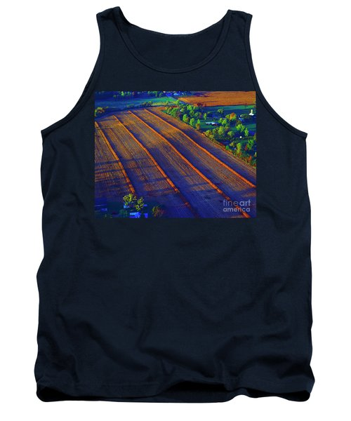 Aerial Farm Field Harvested At Sunset Tank Top