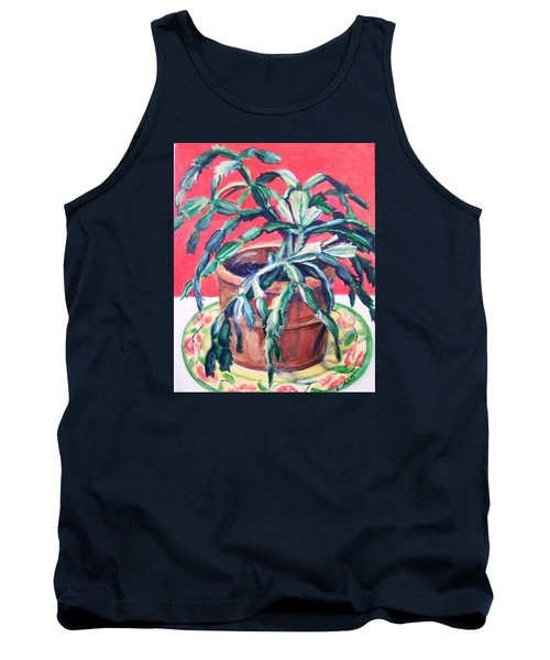 Tank Top featuring the painting Christmas Cactus by Laura Aceto