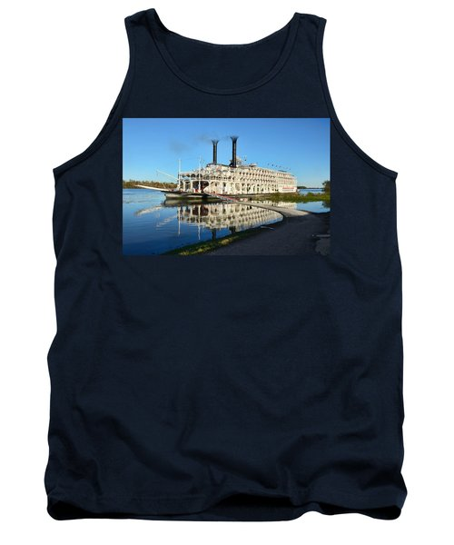 American Queen Steamboat Reflections On The Mississippi River Tank Top by David Lawson