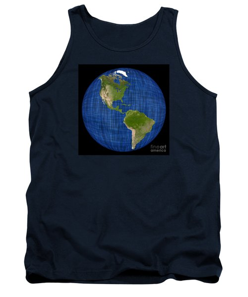 Americas On A Globe The Western Hemisphere Tank Top by Wernher Krutein