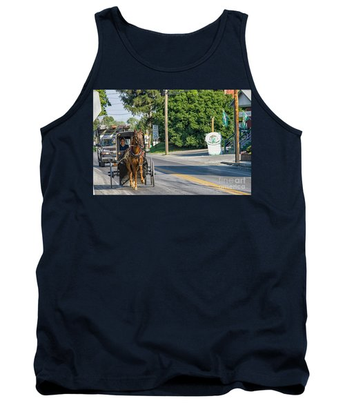 Tank Top featuring the photograph Amish Girl On The Road by Patricia Hofmeester