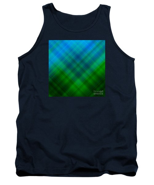 Angled Blue Green Plaid Tank Top