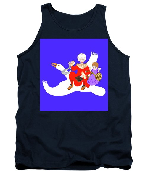 Mother Goose On Her Flying Goose Tank Top