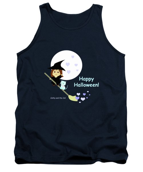 Cathy And The Cat Enjoy Halloween Tank Top