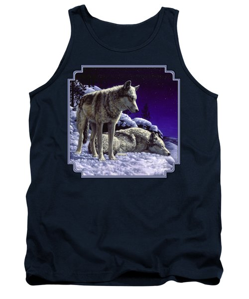 Wolf Painting - Night Watch Tank Top by Crista Forest