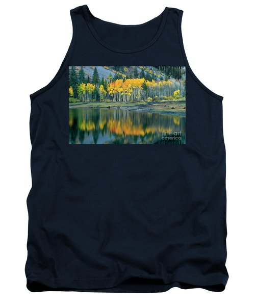 Aspens In Fall Color Along Lundy Lake Eastern Sierras California Tank Top