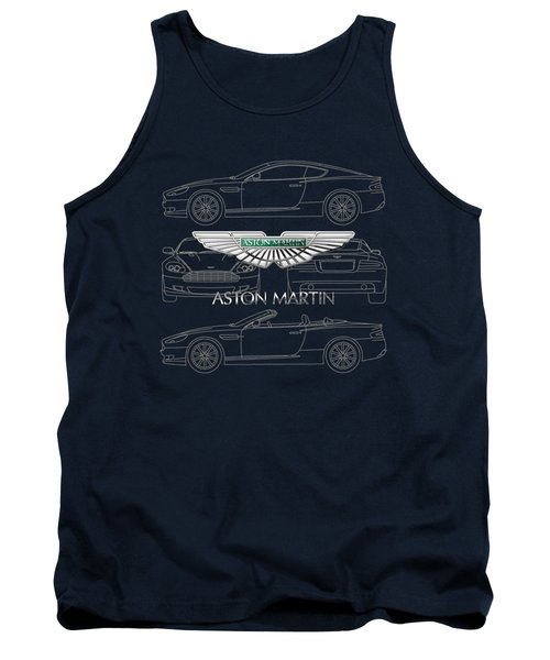Aston Martin 3 D Badge Over Aston Martin D B 9 Blueprint Tank Top by Serge Averbukh