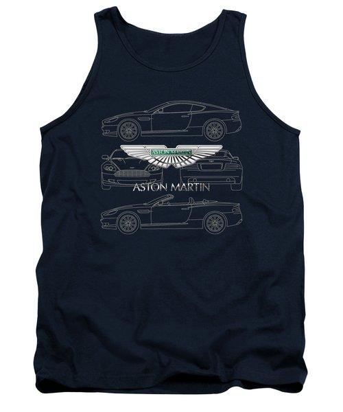 Aston Martin 3 D Badge Over Aston Martin D B 9 Blueprint Tank Top