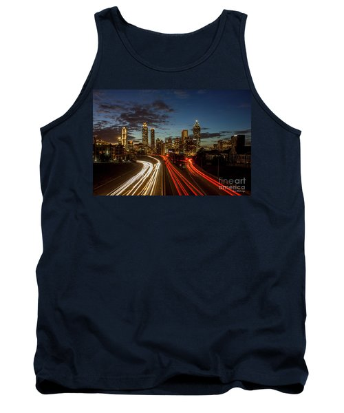 Tank Top featuring the photograph Atlanta Downtown Infusion Atlanta Sunset Cityscapes Art by Reid Callaway