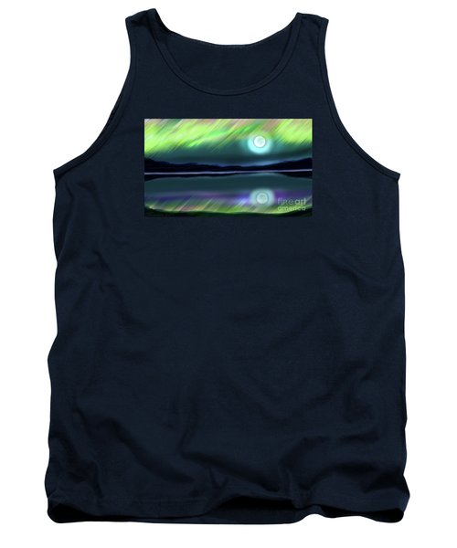 Aurora Moon Lake Tank Top by Patricia L Davidson