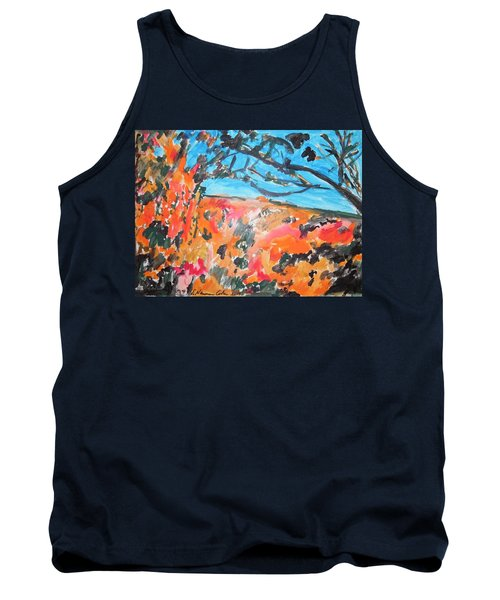 Tank Top featuring the painting Autumn Flames by Esther Newman-Cohen