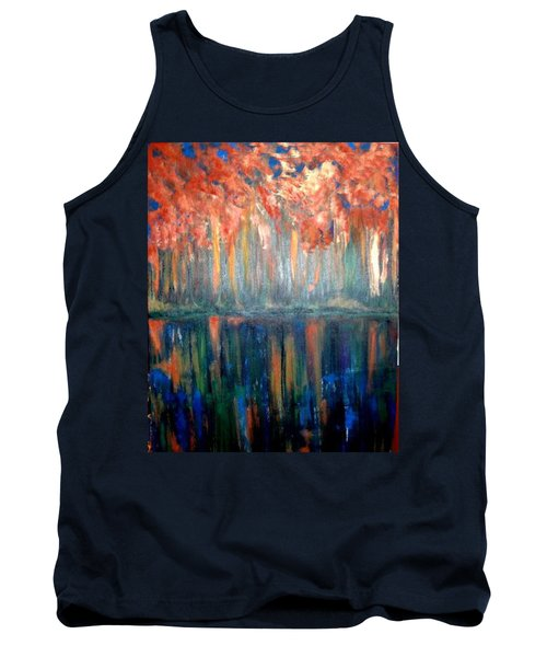 Tank Top featuring the painting Autumn Reflections by Rae Chichilnitsky