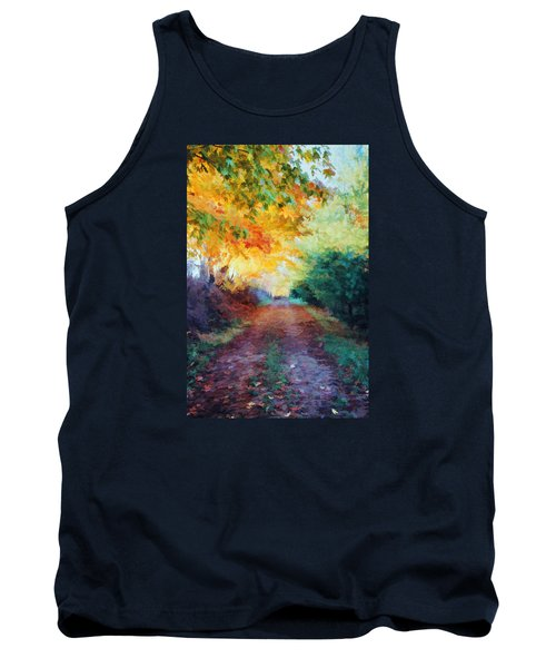 Tank Top featuring the photograph Autumn Road by Diane Alexander