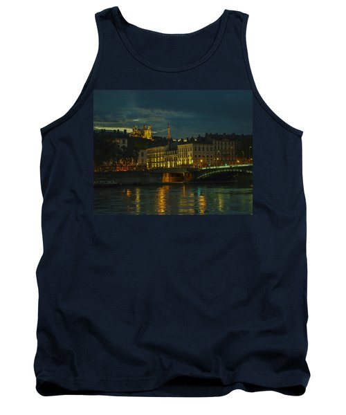 Tank Top featuring the photograph Basilica Notre Dame De Fourviere From Across The Rhone River by Allen Sheffield