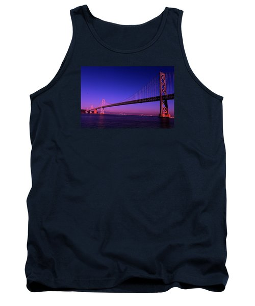 Bay Bridge Sunset Tank Top by Linda Edgecomb