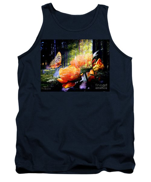 Beautiful Butterfly And Flowers In Forest Tank Top by Annie Zeno