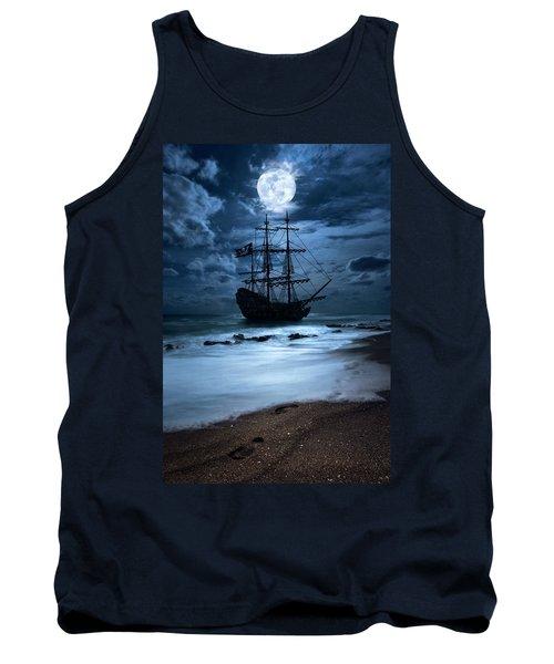 Black Pearl Pirate Ship Landing Under Full Moon Tank Top