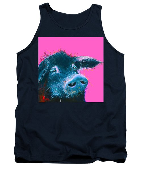 Black Pig Painting On Pink Background Tank Top