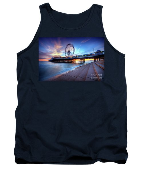 Tank Top featuring the photograph Blackpool Pier Sunset by Yhun Suarez