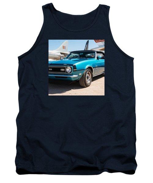 Blue 350 Chevy Camaro Ss Tank Top