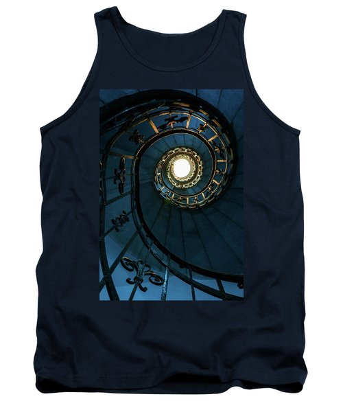 Tank Top featuring the photograph Blue And Golden Spiral Staircase by Jaroslaw Blaminsky