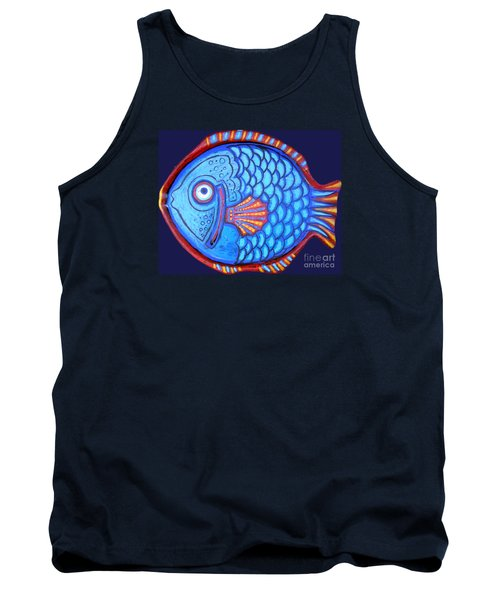 Blue And Red Fish Tank Top by Genevieve Esson