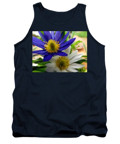 Tank Top featuring the digital art Blue And White Anemones by Shelli Fitzpatrick