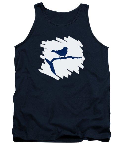 Blue Bird Silhouette Modern Bird Art Tank Top