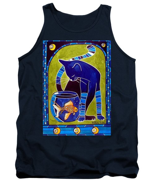 Blue Cat With Goldfish Tank Top by Dora Hathazi Mendes