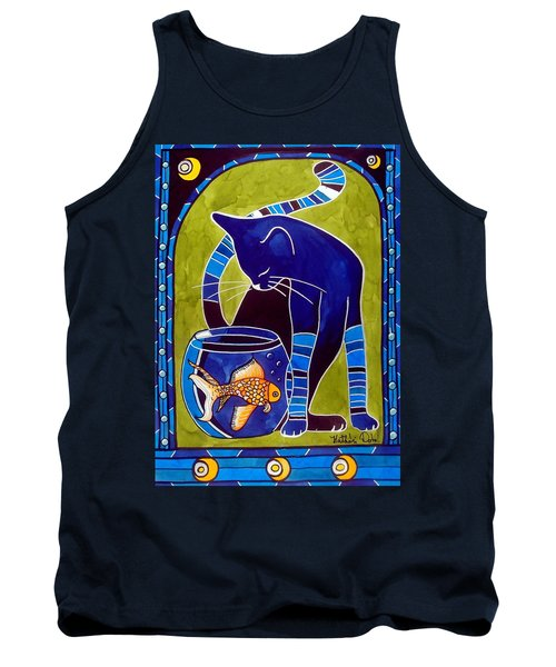 Blue Cat With Goldfish Tank Top