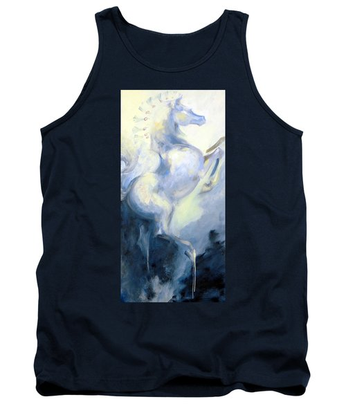 Tank Top featuring the painting Blue Circus Pony 1 by Dina Dargo