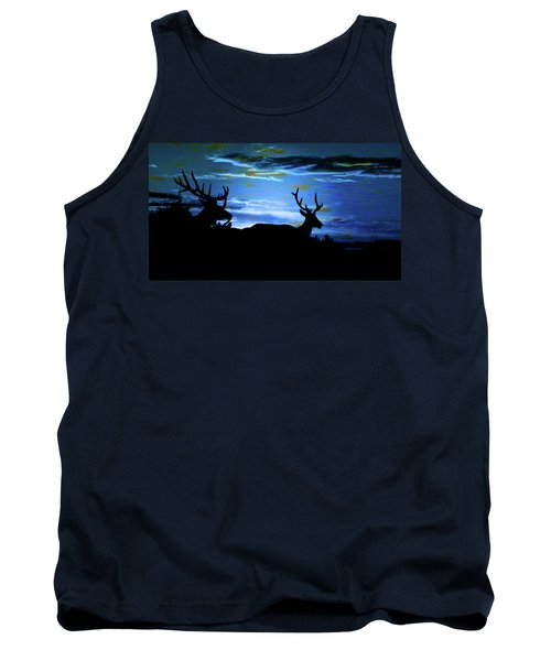 Tank Top featuring the mixed media Blue Elk Dreamscape by Mike Breau