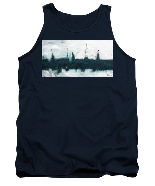 Tank Top featuring the painting Blue Harbour by Carmen Guedez