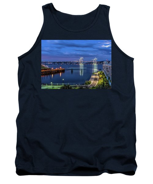 Blue Hour Over The Hudson Tank Top by Jeffrey Friedkin