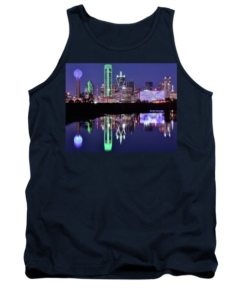 Tank Top featuring the photograph Blue Night And Reflections In Dallas by Frozen in Time Fine Art Photography