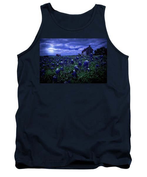Tank Top featuring the photograph Bluebonnets In The Blue Hour by Linda Unger