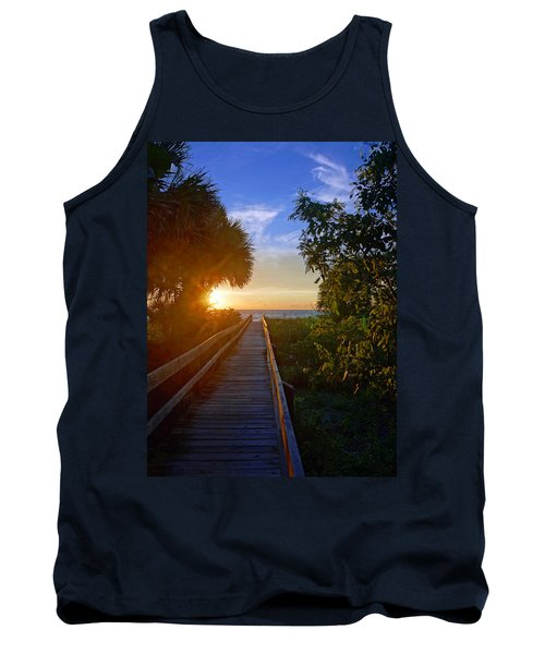 Tank Top featuring the photograph Sunset At The End Of The Boardwalk by Robb Stan