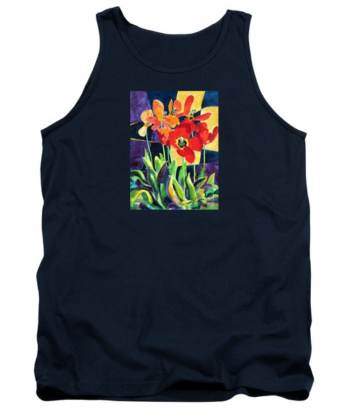 Bold Quilted Tulips Tank Top