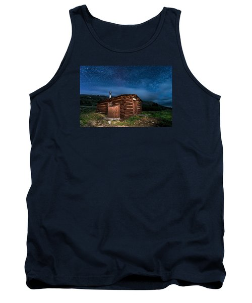 Boreas Pass Cabin Moonlit Night Tank Top by Michael J Bauer
