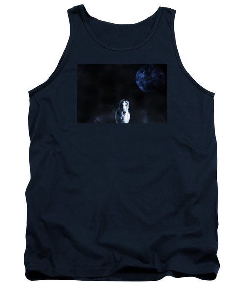 Borzoi Wolf-hound, Hunting Under A Full Moon Tank Top