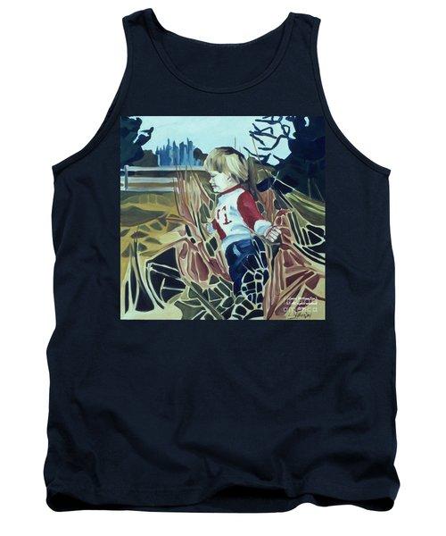Boy In Grassy Field Tank Top