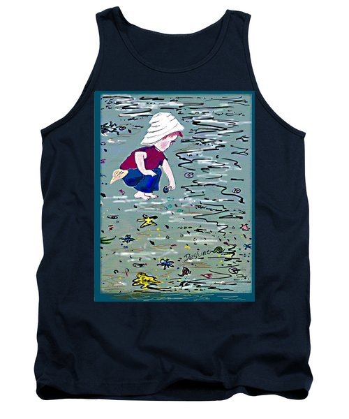Tank Top featuring the painting Boy On Beach by Desline Vitto