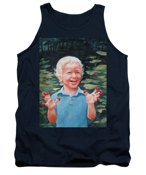 Boy With Raspberries Tank Top by Marilyn Jacobson