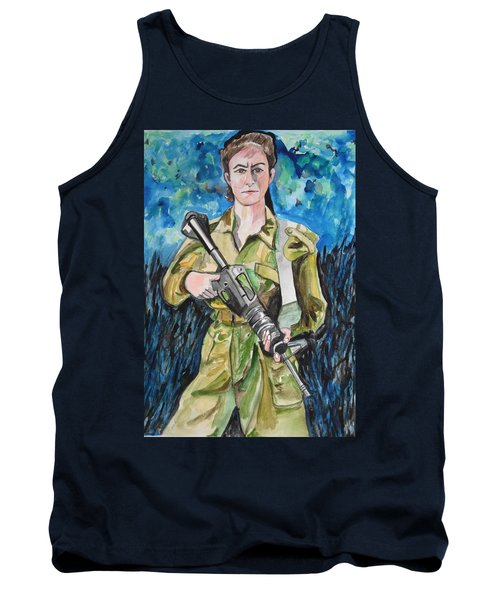 Tank Top featuring the painting Bravado, An Israeli Woman Soldier by Esther Newman-Cohen