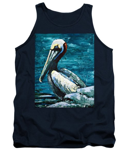 Brownie On A Seawall Tank Top by Suzanne McKee
