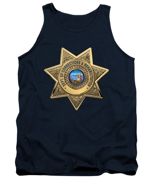 Tank Top featuring the digital art California Department Of Corrections And Rehabilitation - C D C R  Officer Badge Over Blue Velvet by Serge Averbukh