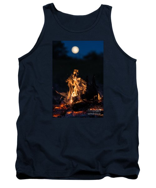 Camp Fire And Full Moon Tank Top by Cheryl Baxter